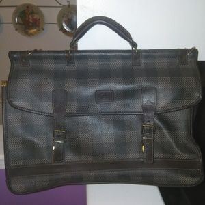 Geoffrey Beene large plaid briefcase